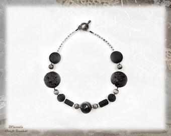 "Black Ashrock Stone Necklace, 15"", Homemade, Jewellery, Jewelry, Beads, Women's, Men's, Unisex, Black Rocks"