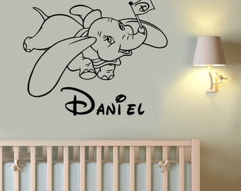 Custom Name Dumbo Wall Decal Vinyl Sticker Disney Movie Art Decorations for Home Childrens Kids Room Nursery Personalized Decor dumb1