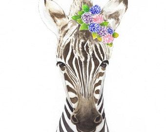 Floral Zebra Watercolor, Safari Watercolor Print, Safari Animal Print, Zebra Wall Decor, Nursery Art