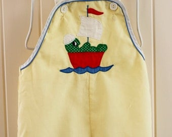 Baby Boy Romper - Yellow Vintage Baby Retro 9-15 Months - Overall Super Cute! 70's