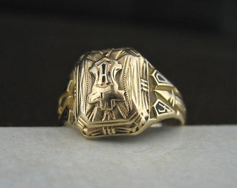 Vintage 10k Yellow Gold Class Ring, Vintage 10k Gold Jewelry, Size 6 HJ Supertone Art Deco Vintage 10k Gold Ring,