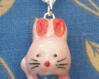 Pink Bunny Ceramic Pendant and Necklace, Single.