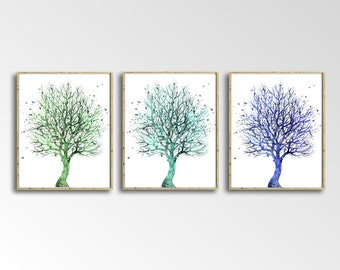 SET of Three Nature Watercolor Art Prints, Nature Painting, Home Wall Décor, Trees Art Printable, INSTANT DOWNLOAD