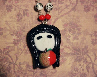Little Apple Doll Polymer Clay Necklace