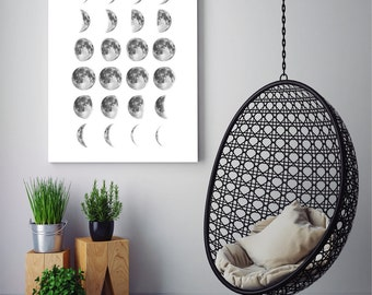 Moon Phases in White Background, Moon Photo, Moon Wall Art, Moon Photography, Large Moon Phases Poster, Printable Download Digital Print JPG