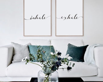 Inhale Exhale Print, Minimalist Typography Art, Yoga Wall Art, Pilates Art,  Relaxation