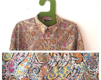 Cacharel La Chemiserie RARE 1970 Paisley multicoloured French designer Vintage Liberty