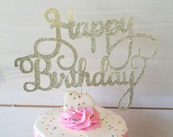 Gold Happy Birthday Topper - FREE SHIPPING