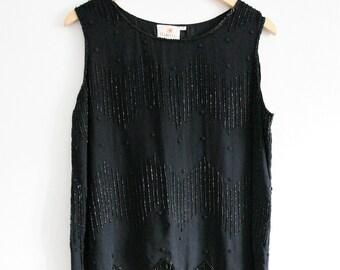 Vintage beaded embellished top sleeveless 1990s black Size Medium
