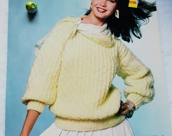 1986 Unger Fluffy Pullover  Sweater Knitting Pattern
