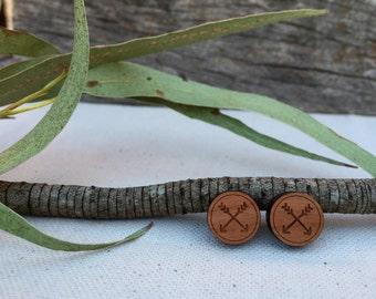 Tribal Arrow wooden stud earrings - tribal wooden earrings - wooden studs - arrow earrings - arrow studs - tribal jewelry - tribal jewellery
