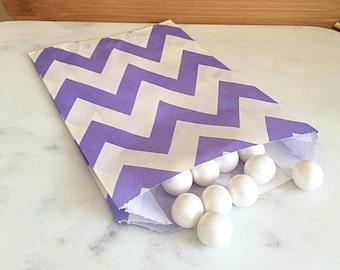 Purple Chevron Goodie Bags, Party Favors, Food safe (12)