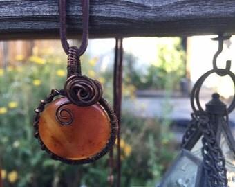 Wire Rose Gemstone Bead Pendant