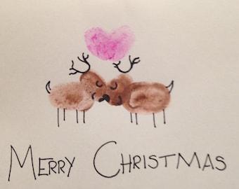 Reindeer thumb print Christmas card