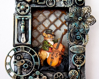 Mixed-Media Steampunk art 3D collage