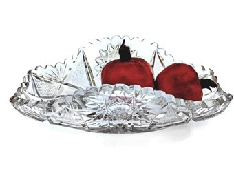 Hawkes American Antique Brilliant Cut Glass Relish, Celery, Candy Dish Features a Splayed Fan Pattern with Sawtooth Top Edging