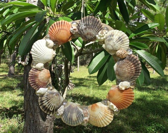Burlap Wrapped Wreath with Assorted Colored Scallop Shells and Beads