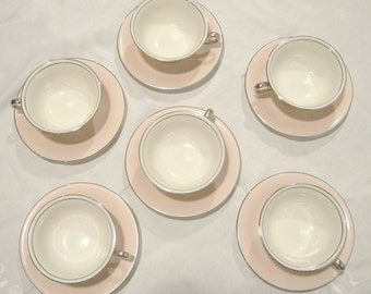Collectible Castleton Pink Teacups and Saucers