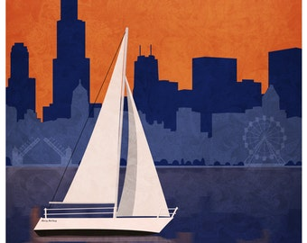 Chicago Vintage Style Travel Poster