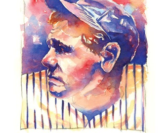 Babe Ruth Watercolor Print