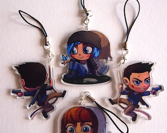 2.0 Inch two-sided acrylic charm - Max & Chloe (Life is Strange), Nathan Drake (Uncharted)
