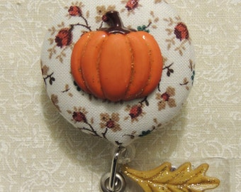 Pumpkin Patch Badge Reel, Autumn Badge Reel, Fall Badge Reel, Pumpkin Badge Reel, Thanksgiving Badge Reel, Leaf Badge Reel, ID Badge Holder