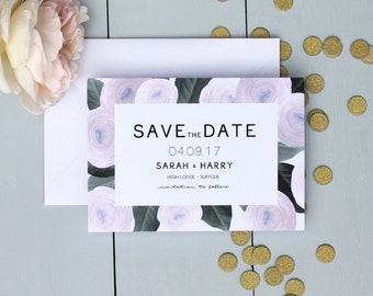 Floral Wedding Save The Date Card, Pink Wedding Save The Date Card, Ranunculus Wedding Save The Date Invite
