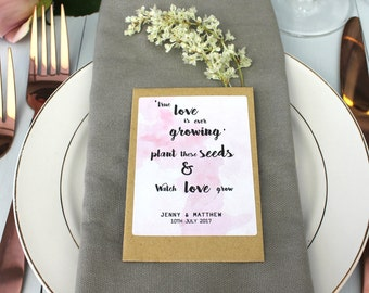 Wedding Favour Seed Packet Envelope, Personalised Wedding Favour Seeds, Wedding Favor Seeds