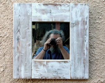 Reclaimed wood frame with mirror-Brushed Wood Frame handmade Pickled White Eco Design