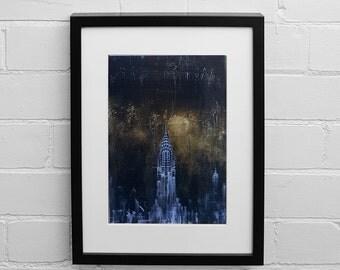 Chrysler Building Print, New York Skyline at Night print, Fine Art Print, Wall Art Prints, Gold Art Print, Abstract Print, Painting Print