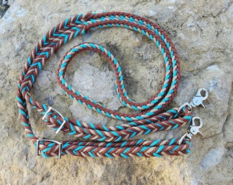 Turquoise and brown reins