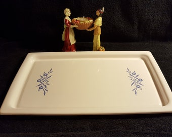 CorningWare , P35B , Broil Bake Tray , Pyrex , Broil Tray , Serving Tray , Blue Cornflowers , Free Shipping , oven to table