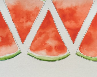 Original Watercolor Many Watermelons Painting + Card // 10x16cm