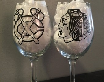 Pair of Chicago Blackhawks Wine Glasses