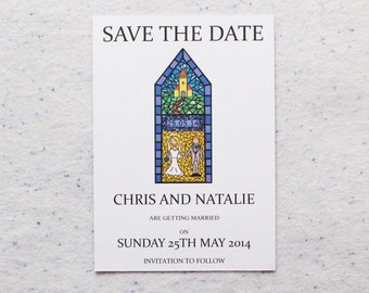 50 Personalised Wedding Stained Glass Save the Date Invitations