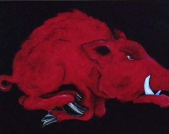 Licensed Arkansas Razorback Painting.