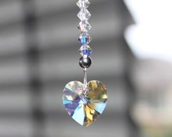 Swarovski Crystal Suncatcher, Love Heart, Meditation, Car Charm, Bridal, New Baby, Window and Nursery Decoration.