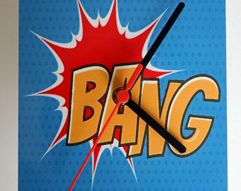 Retro  Pop Art 'Bang' Metal Artwork Wall Clock