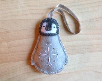 Felt baby penguin ornament, Felt bird ornament, Handmade bird Christmas ornament, Bird ornament