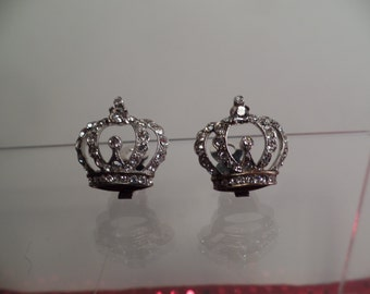 1950's Sterling and Rhinestone Earrings with Crown Design