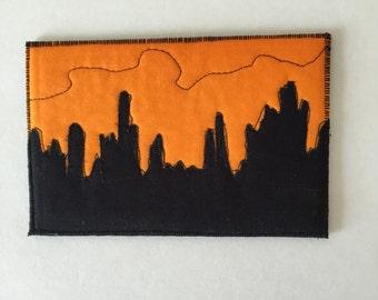On Sale,  Free Shipping,  Southwest Scene Quilted Fabric Postcard  Cactus Fabric Art , Greeting Card, Black on Orange Desert Scene Postcard
