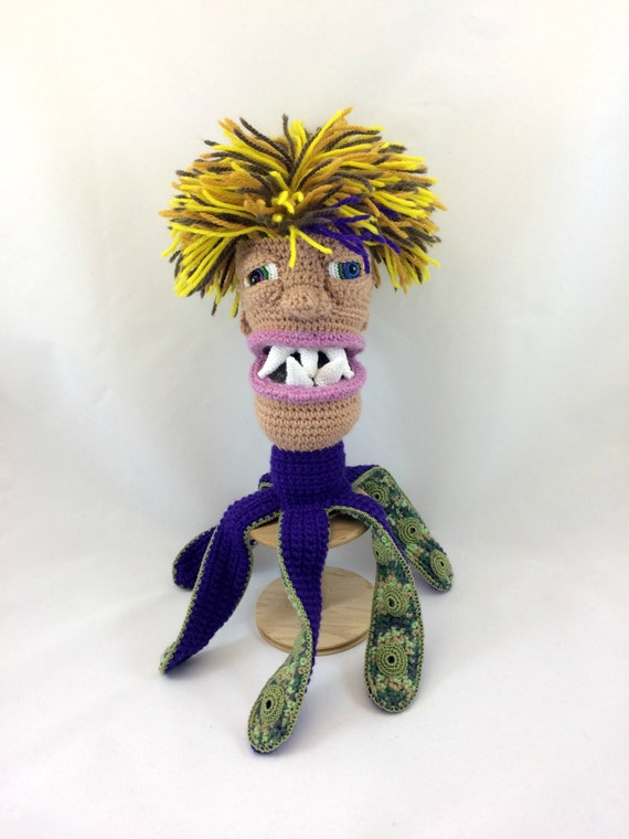 Octopus Monster Puppet Doll, Collectible Amigurumi Plush Puppet