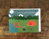 Cute Camping Card - Valentine, Love, Friendship, Mom, Dad Card - You Make Life a Great Adventure