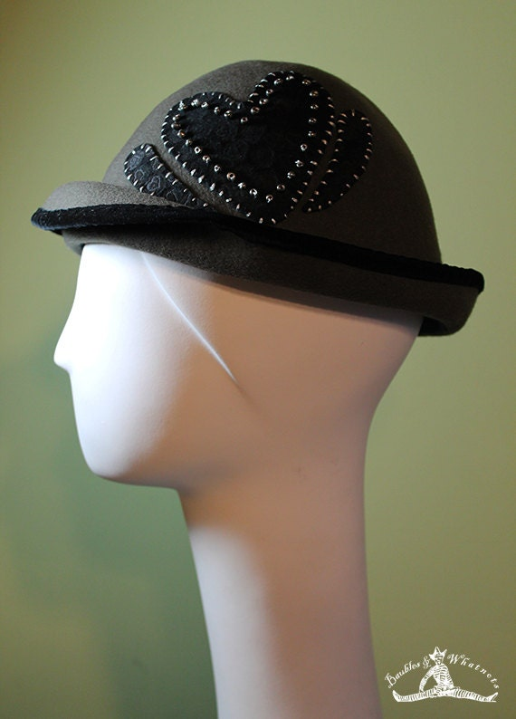 Women's Gray Wool Hat With Black Beaded Heart - Gray Wool Women's Bowler - Valentine's Day Women's Hat - OOAK