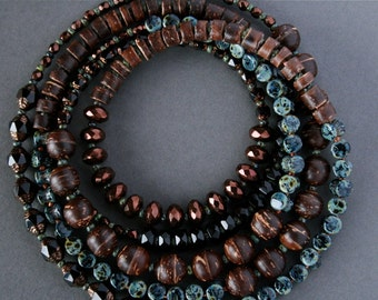 boho chic necklace with coconut shell and glass - bohemian jewelry - long beaded necklace - ethnic hippie style
