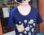 Cat T-Shirt: Cat Blowing Bubbles & Sleeping Kitties, Gift for Her, Scoop Neck Tshirt, Funny Cat Shirt