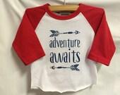 "Boys Infant Raglan Sleeved Shirt with ""Adventure A..."