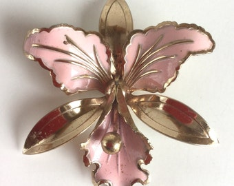 Vintage Pink and Gold Flower Brooch Floral Orchid Pin with Pale Pastel Pink Petals and Gold Leaves - Large Statement Brooch 40s Jewelry