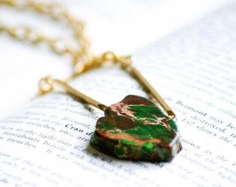 Green Stone Statement Necklace Stone Slab Brushed Gold Medium Link Chain Polished Gold Bars Bling