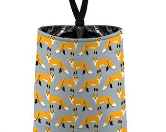 Car Trash Bag // Auto Trash Bag // Car Accessories // Car Litter Bag // Car Garbage Bag - Red Fox - Light Grey Silver orange